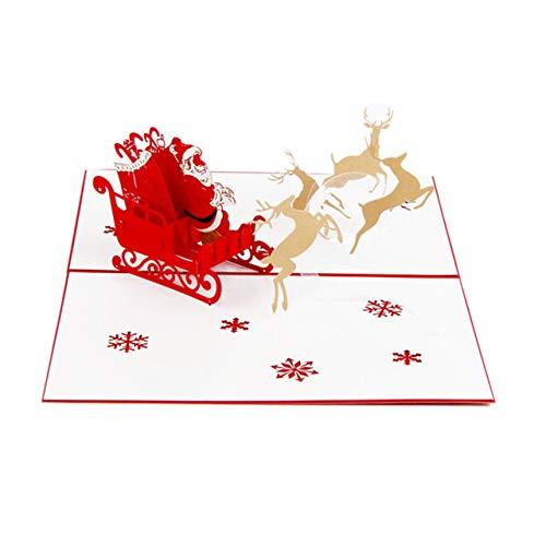 Prima05Sally 3D Santa Claus Deer Auto Karte Pop Up handgefertigte Frohe Weihnachten Grußkarten für Newyear Festival Jubiläum Geburtstag (Day-karte-autos Valentines)