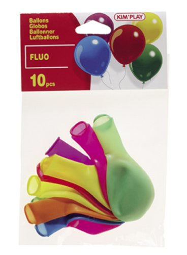 Cofalu Kim'Play - Décoration de table - 10 Ballons à Gonfler Assortis Fluo Assortis
