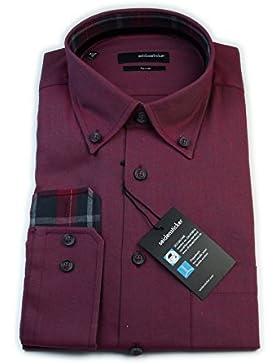 Seidensticker Herren Langarm Hemd Splendesto Regular Fit Flanel Button-Down-Kragen rot strukturiert mit Patch...