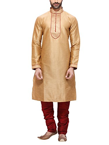RG Designers Men's Silk Kurta Pajama Set (10369GoldKurta Pajama Set36_Gold_Small)