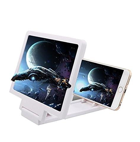 Happy Event Neueste Handy-Bildschirm Lupe Augenschutz Display 3D Video Bildschirmverstärker Falten Vergrößerte Expander Stand (Weiß)