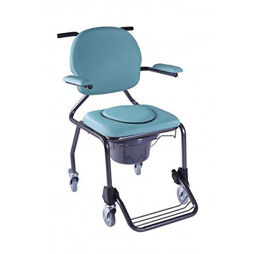 WC-Dusche aus Edelstahl mit   Stuhl mit Fußstütze und gepolsterten Armlehnen   Gewicht max Benutzer: 130kg