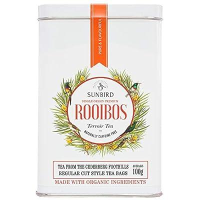 Sunbird Rooibos 100g Cederberg Foothills 40 Sachets Thé Rouge - Certifié Bio - Sans Caféine - Feuilles entières - Riche en antioxydants - Detox