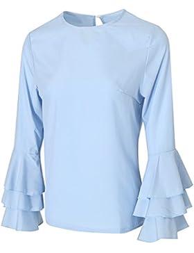MagiDeal Camisas Mujher Manera Blusas Plegables Manga Tapas Flojas Ocasionales Estilo Elegante