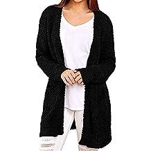 Sudadera Casual para Mujer Sólido Invierno Cálido Bolsillos de Lana Chaqueta de Punto Abrigo Prendas de