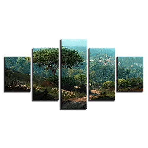 zlhcich Canvas Paintings Wall Art HD Prints 5 Pieces Witcher 3 Wild Hunt Forest Pictures Tree Game Posters Home Decor Modular