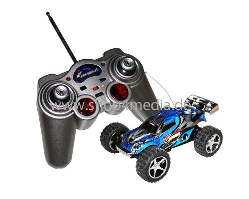 AMEWI RC Car Mini Truggy Running Dog M 1:52 RTR bis zu 30km/h Turbo NEU blau