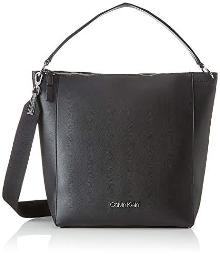 Kleine Hobo Black Handtaschen (Calvin Klein Damen Strap Hobo Henkeltasche, Schwarz (Black), 15.5x33x36 cm)