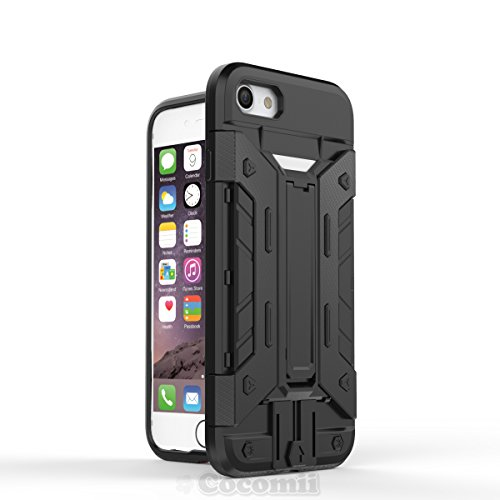 iPhone 8 / iPhone 7 Hülle, Cocomii Transformer Armor NEW [Heavy Duty] Premium Built-in Multi Card Holder Kickstand Shockproof Hard Bumper Shell [Military Defender] Full Body Dual Layer Rugged Cover Ca Black