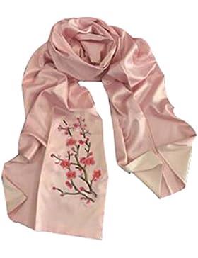 Bufanda de seda bordada moda bufandas chales largos para mujeres #03