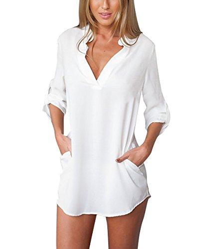 ISASSY® V-Neck Chiffon Maniche Lunghe Camicetta Camicia Tops Shirt