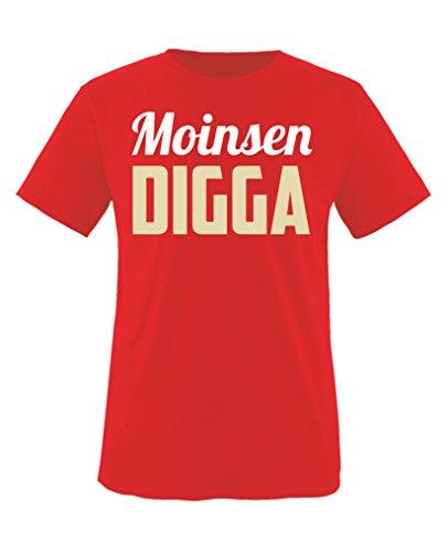 Comedy Shirts - Moinsen Digga - Jungen T-Shirt - Rot/Beige-Weiss Gr. 152/164