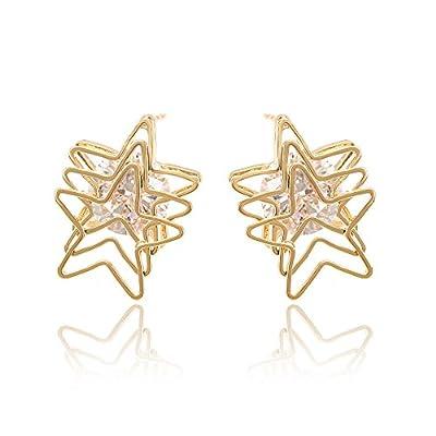 xuping mujeres sintéticas circonita cinco Star 18K chapado en oro pendientes de regalos