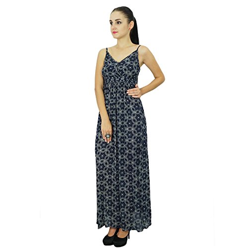 Bimba Femmes Robe longue bohème chic Été Maxi Beach Wear Noir