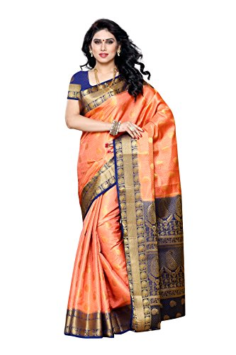 Mimosa Women's Traditional Art Silk Saree Kanjivaram Style With Blouse Color:Peach(3300-225-PCH-NVY )