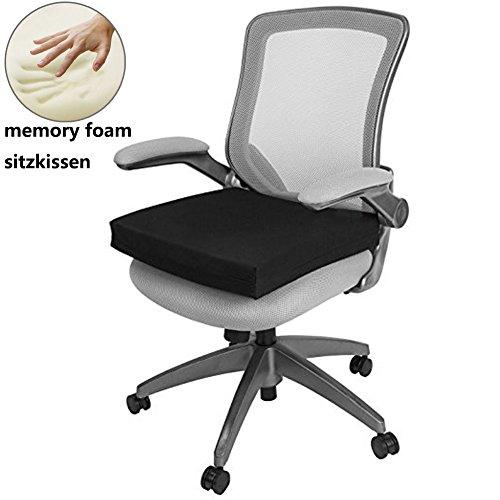 Big Ant Stuhlkissen, Schmerzlinderung für Rücken, Orthopädisches Sitzkissen Pad aus Memory-Schaum, 40x40x5cm sorgt für Druckentlastung Beim Sitzen & Geeignet für Rollstuhl, Büro & Auto, Schwarz -