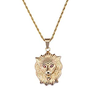 Daesar Stainless Steel Necklaces for Men Lion's Head with Red Eye Gold Necklace