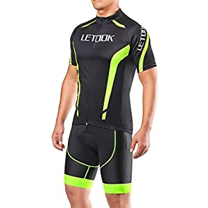 Letook Cycling Jerseys Man Clothing Set Summer Bike Short Sleeve + Shorts (Pants, L)