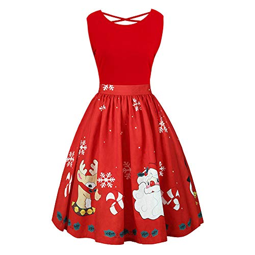 OPALLEY Damen Weihnachtskleider, Frauen Geschenk Vintage Christmas Print Langarm Oansatz Abend Party Swing Kleid Club Festival Karneval Kleid Karneval KostüMe Dress Kleid
