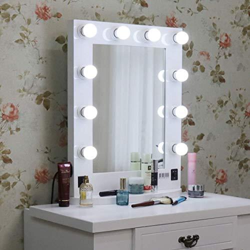LUVODI Hollywood Spiegel Schminkspiegel mit dimmbare Beleuchtung Make-up Tischspiegel Theaterspiegelmit LED Lampe 50 x 66cm (Weiß)