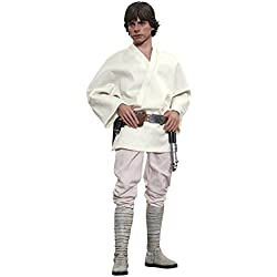Hot Toys Figura de Luke Skywalker Figura de la película Star Wars: Episodio IV - Una Nueva Esperanza (Escala 1:6), Color Blanco