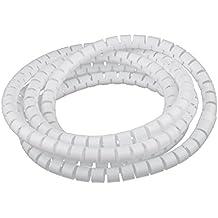 Organizador de Cable Tubo Flexible en Espiral Evuelto para Agrupar Cable Diámetro 10 mm / 15 mm / 20 mm / 25 mm - 10 mm, Blanco