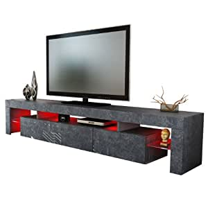 meuble tv bas armoire basse lima xl rock en optique ardoise cuisine maison. Black Bedroom Furniture Sets. Home Design Ideas