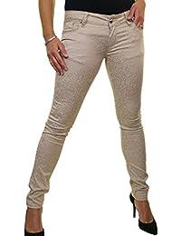 ICE (1520) Jeans Taille Basse Extensible Très Moulant Effet Velours Gaufré