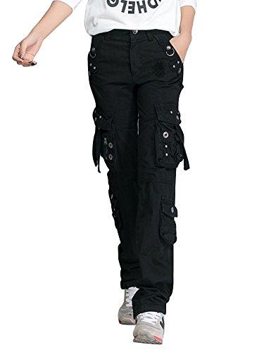 OCHENTA Mujer Uniform Combat Cargo para 8 Bolsillos de Seguridad Pantalones Negro Etiqueta 29-EU 36