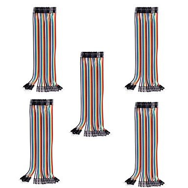 REES52 20cm Male to Female DuPont Breadboard Jumper Wires for (For Arduino) (40Pcs/Pack) (5Packs)