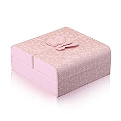 Boshiho Leather Jewelry Case - Luxurious Travel Jewelry Box Organizer Display Storage Case Butterfly Decoration Jewelry Box Ring Box for Women Girls Pink P