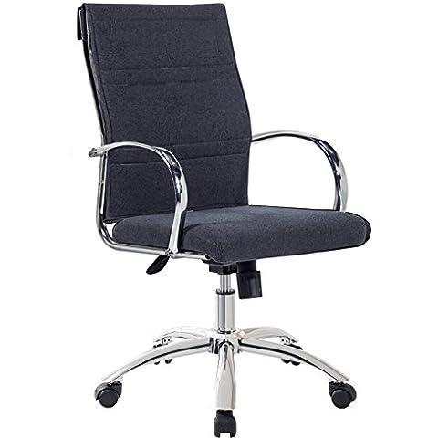 Sillón silla de oficina gris marengo regulable y giratoria de tela con ruedas. 60x95 o 103cm