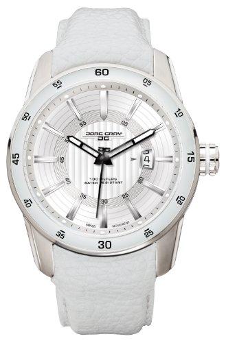 Jorg Gray - JG3700-13 - Montre Homme - Quartz Analogique - Bracelet Cuir Blanc