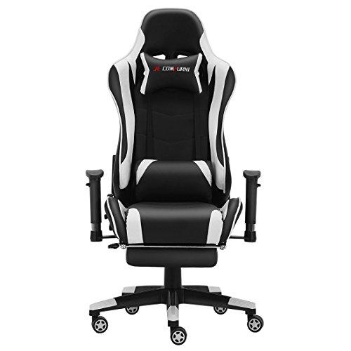 JL comfurni Gaming Chesterfield Ergonomische Drehstuhl Home Office nap Stuhl Computer-Schreibtisch Stuhl PU Leder Liege Sport Racing Stuhl schwarz/weiß (Ein Stuhl Für Schreibtisch)