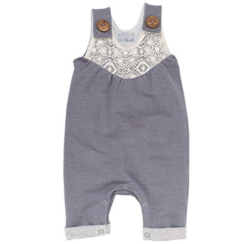 Pinokio - Colette- Overall - Baby, Mädchen - 100% Baumwolle - Blau/Grau mit weißer Spitze, Latzhose mit Holzknöpfen (80)