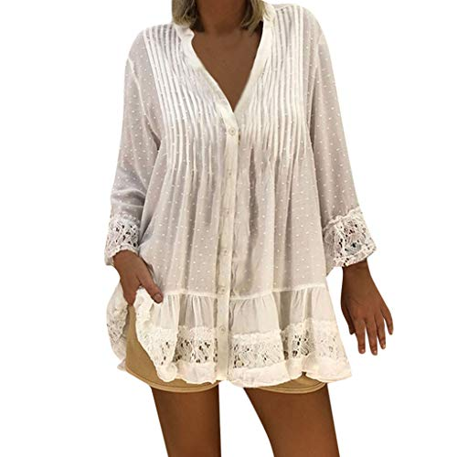 CAOQAO Damen T-Shirt Mit Gefaltetem Druck V-Ausschnitt Kaftan Boho Strand Cover Plus Size Damen Vintage Hippie Baggy Bluse Mode LäSsig Tunika (L,Weiß) (Tunika Hippie Shirt)