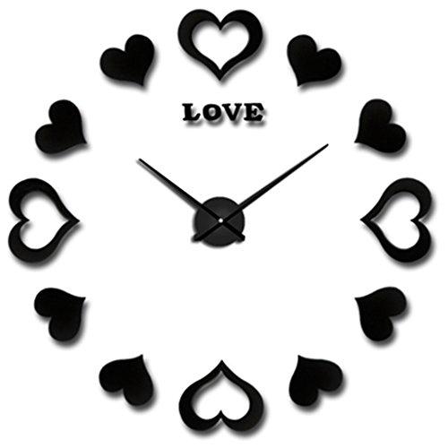 horloge murale Nouveau Grand Mur Horloge Horloge Décoratif Modem Conception De Mariage Décoration Mur de Maison Montre Livraison Gratuite (Couleur : Noir)