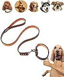 MonsterKill Leder Leine +Halsband zum Hunde/Weich Original Leder Hund Halsband im Braun,Einstellbar Halsbänder/Leder 1.2M-Schwer Ausbildung Leine zum Hunde