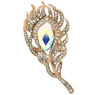 Brooches Store Elegant Rose Gold and AB Crystal Peacock Feather Brooch