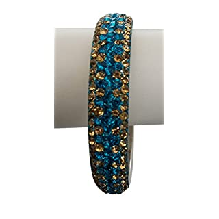 Avx Fashion Crystal Bracelet Bangle Slip on Silver tone Many Colors (Turquoise Blue-L)
