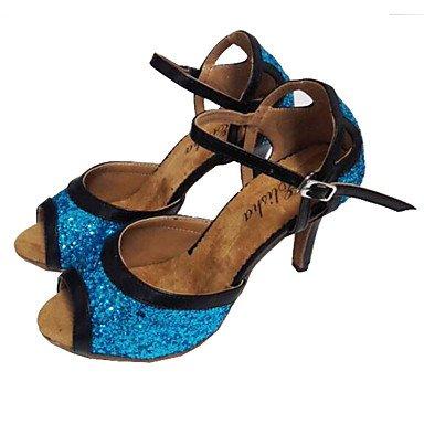 Scarpe da ballo-Personalizzabile-Da donna-Balli latino-americani Salsa-Tacco su misura-Di pelle Brillantini-Nero + Blu Black/Blue