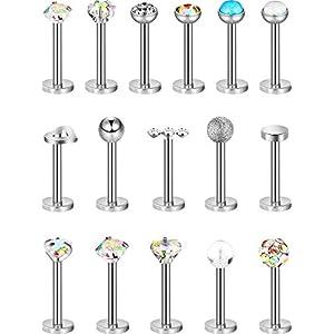 16 Stück 16g Edelstahl Nasenstecker Tragus Labret Nasen Lippen Piercing Sortierte Design Piercing Schmuck für Damen