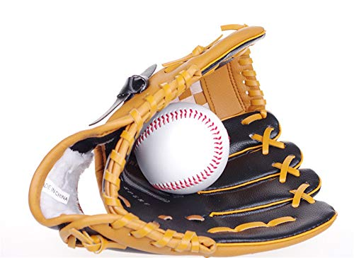 DNYJMDY07 Baseballhandschuh Sports Batting Gloves, PVC-Dicke Handschuhe, Innen- und Außenfeld Pitcher Catcher Fanghandschuhe - braun