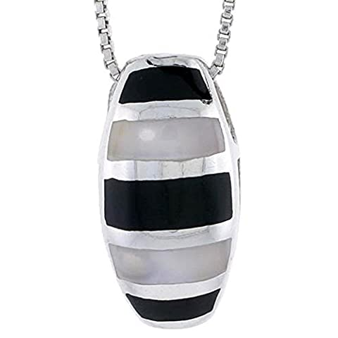 Revoni Sterling Silver Striped Oval Slider Shell Pendant, w/ Black & White Mother of Pearl inlay, 15/16