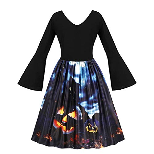 Höschen Kostüm Rüschen - LILIHOT Frauen Halloween Party Kleider Vintage ärmellose Swing Dress Kürbisse Abend Prom Kostüm Festlich Elegant Hepburn Cocktail Abendkleid Rockabilly Ballkleid
