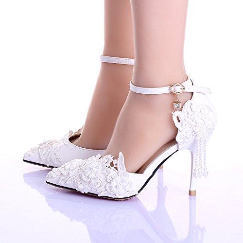 XIE Hochzeitsschuhe der Frauen / Brautjungfer und Braut / Handgefertigte Abziehbilder Quaste / Stiletto-Ferse / Spitzzehe / Sandalen mit hohen Absätzen / weiß 9CM