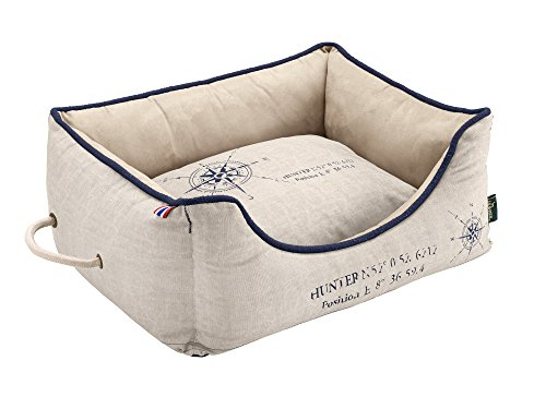 HUNTER List Hundesofa, maritim, wasserabweisend, schmutzabweisend, antibakteriell, Wendekissen, 60 x 40 cm, creme
