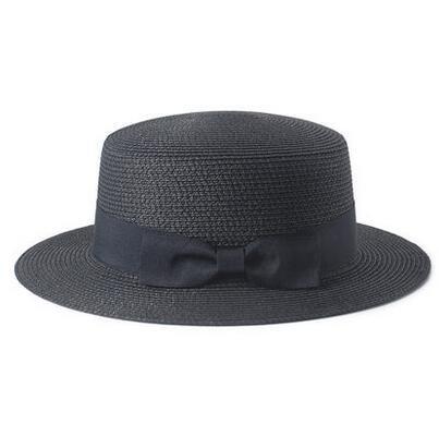 Haihuayan Strohhut Sun Flachen Stroh Hut Kreissäge Hut Mädchen Bug Sommer Hüte Für Frauen Strand Flachen Stroh Hut Chapeau, Schwarz (Stroh-hut Flachen Krempe)