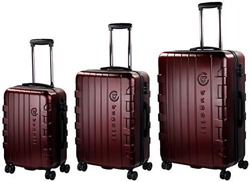 Bugatti Hartschalen Kofferset Galatea (S, M & L) - 4 Rollen 3er Reisekoffer Set, Rot mit TSA Zahlenschloss