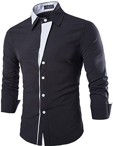 Jeansian Hommes Chemise Slim Fit Manches Longues Casual Fashion Mens Shirt 8732 Black